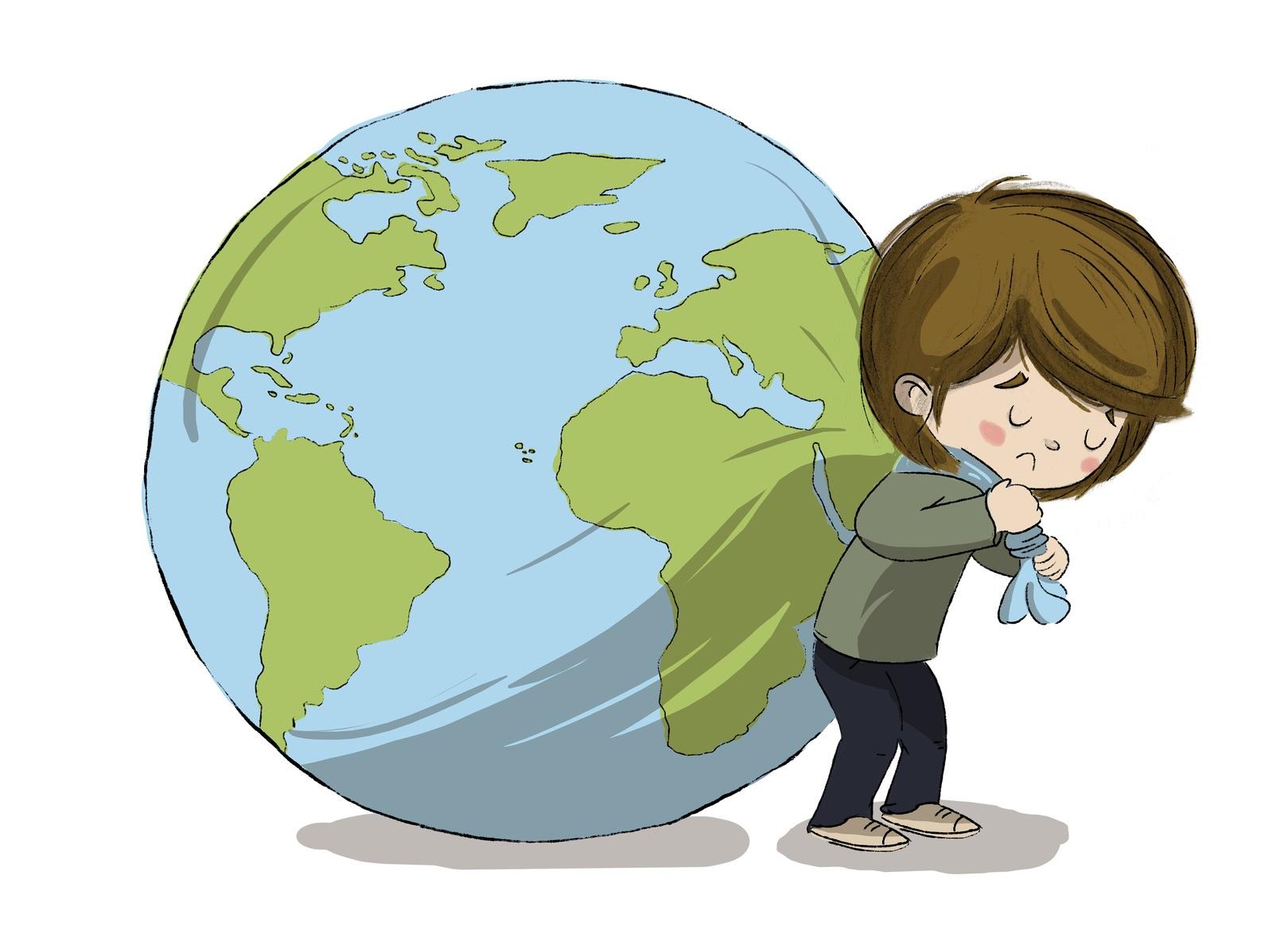 Niño cargando con el planeta tierra