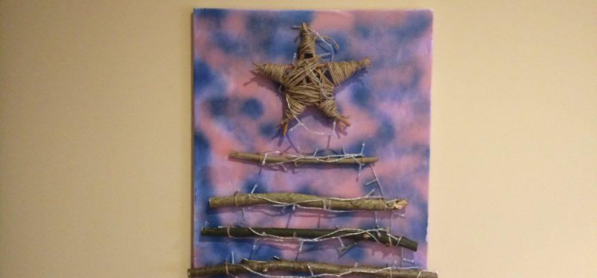 Adornos navideños: árbol en lienzo